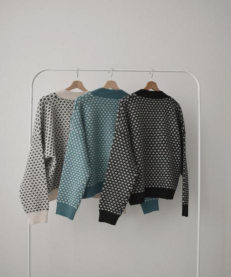 knit-02122 ジャガード ニットVネック カーディガン ホワイト ブラック ターコイズ