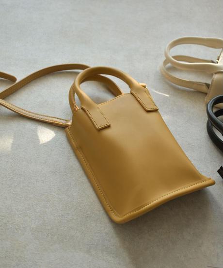 bag2-02559 エコレザー 2way ショルダーバッグ エクリュ マスタード ブラック