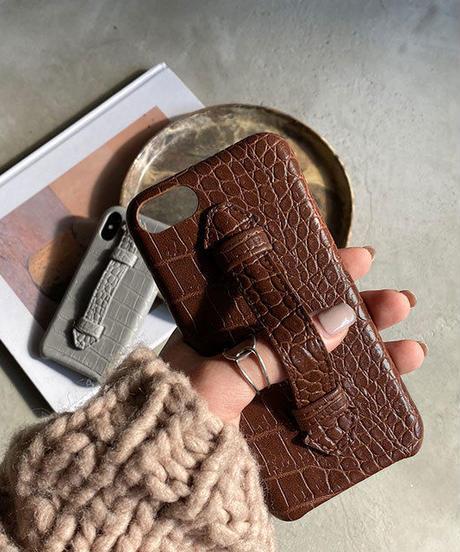 mb-iphone-02562  クロコダイル柄 ベルト付き iPhoneケース