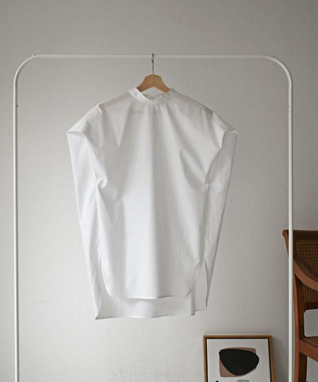 tops-04041 日本製 スタンドカラー オーバーノースリーブシャツ