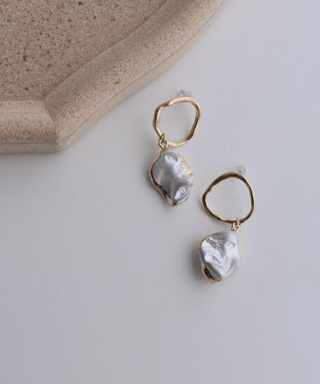 nh-pierce2-02351 ゴールドリング×淡水パールピアス ☆WA04