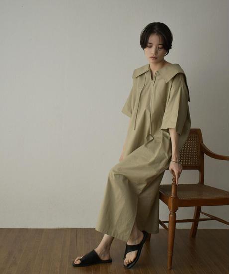 onepiece-04047 日本製 ビックカラー シャツワンピース オフホワイト グレージュ ブラック