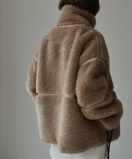 coat-02019 ウール50 エコムートン パイピング ボアブルゾン ベージュ×カーキ モカブラウン×モカブラウン