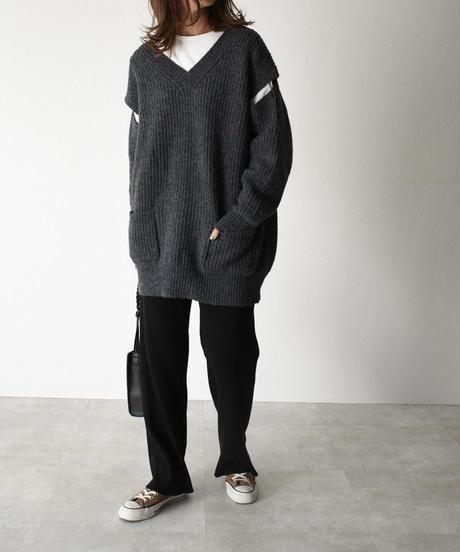 knit-02070 スリットスリーブ Vネック ニット ベージュ ネイビーグレー ネイビー