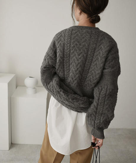 knit-02098 ウール混 ショート ケーブル 二ット ターコイズ グレー アイボリー