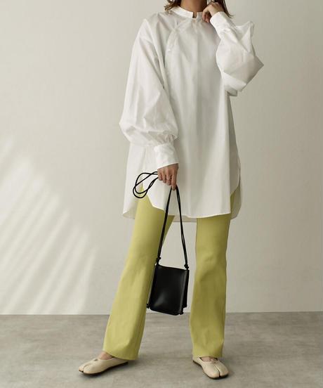 tops-04072 日本製 チャイナカラーシャツ ホワイト ベージュ