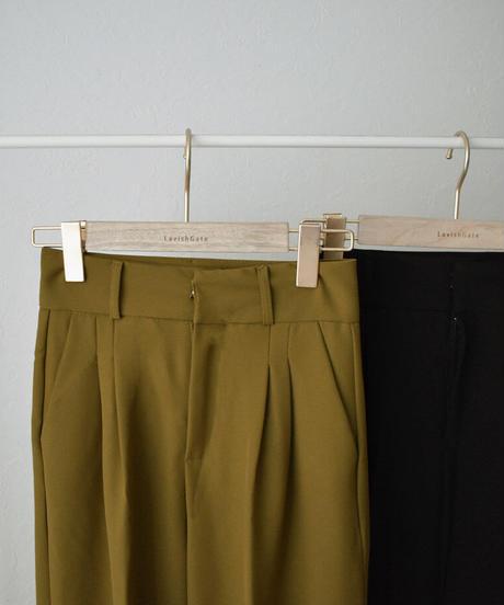 bottoms-02127 タックストレートパンツ マスタード ブラック