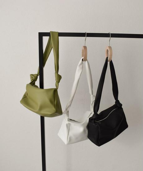 bag2-02548 ノットデザイン ショルダーバッグ ホワイト ライムグリーン ブラック