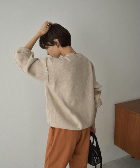 knit-02136 アウトシーム オーバーサイズ ニットプルオーバー グレーブルー モカベージュ