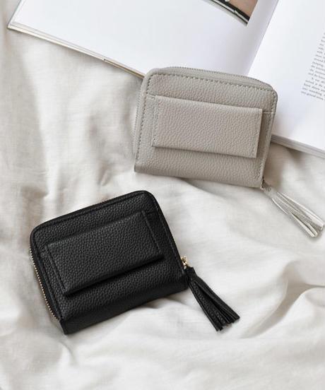 wallet-02014 タッセル付き ミニ財布 小銭入れ付き 二つ折り
