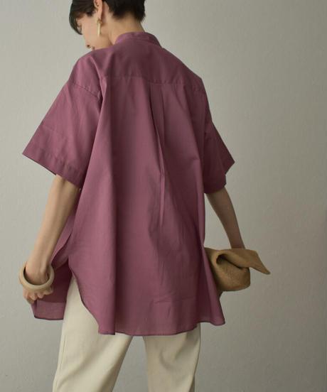 tops-04086 日本製 レイヤードシャツ ダスティパープル ベージュ
