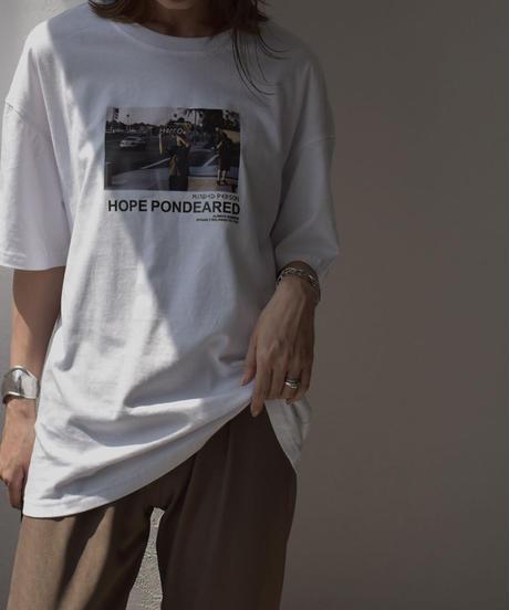 nh-tops-02186 フォトTシャツ ブラック ホワイト