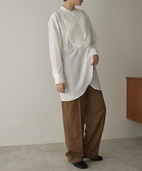 tops-04109 日本製 キルティング切り替え タキシードドレスシャツ  ホワイト ブラック