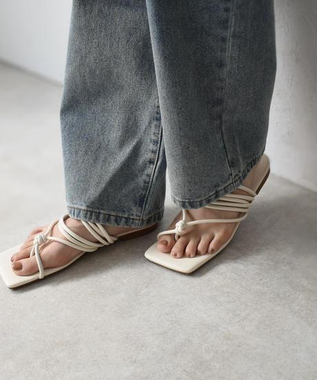 nh-shoes-02112  スクエアトゥ ライン トングサンダル アイボリー ミント ヌード