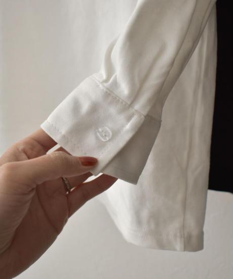 nh-tops-02209 カフスデザイン ロングTシャツ ホワイト ブラック