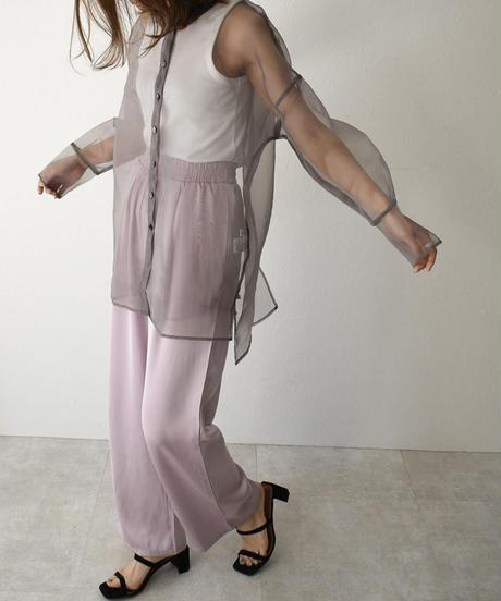 tops-07001 バックスリット オーガンジー シアーシャツ ベージュ グレー