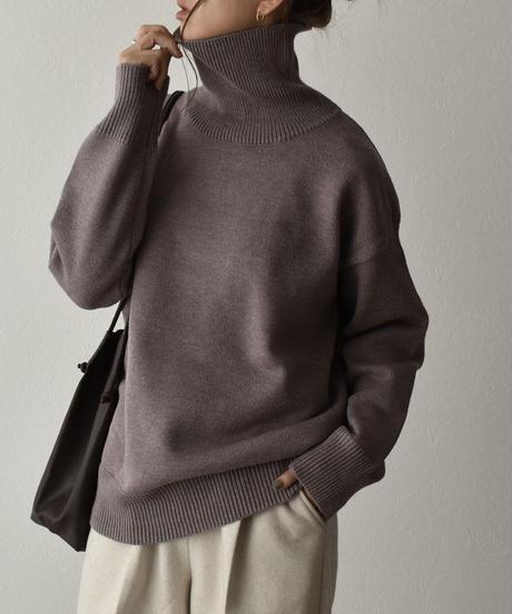 knit-02110 ハイゲージ タートルネック ニット プルオーバー ホワイト ダスティパープル ブラック