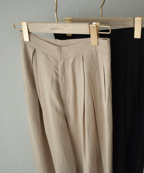 bottoms-02116 リネン混 タック ワイドパンツ ベージュ ブラック