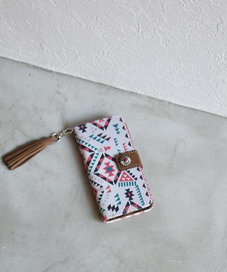 mb-iphone-02537   手帳型 カラフル タッセル付き エスニック柄 カード収納 iPhoneケース