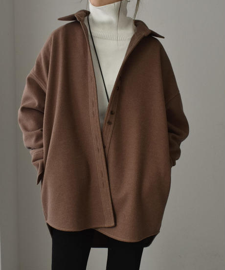 tops-07004 ウールライク CPOシャツジャケット エクリュ モカ