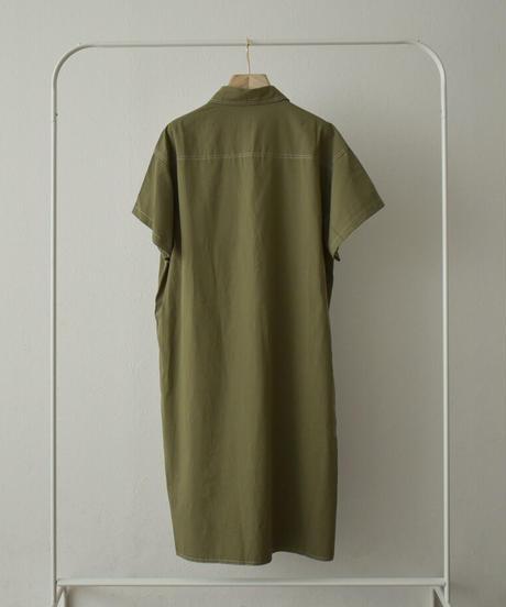 onepiece-02028 ステッチワークシャツ ワンピース カーキ ブラック