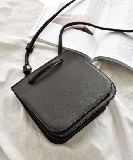 bag2-02452 フェイクレザー スクエア2wayショルダーバッグ ハンドバッグ ココアブラウン アイボリー ブラック
