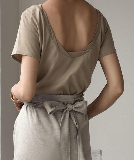 nh-tops-04004 日本製 ツイストネック バックオープンTシャツ カーキベージュ