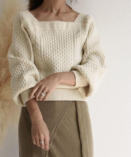 knit-02036 スクエアネック アランニット アイボリー