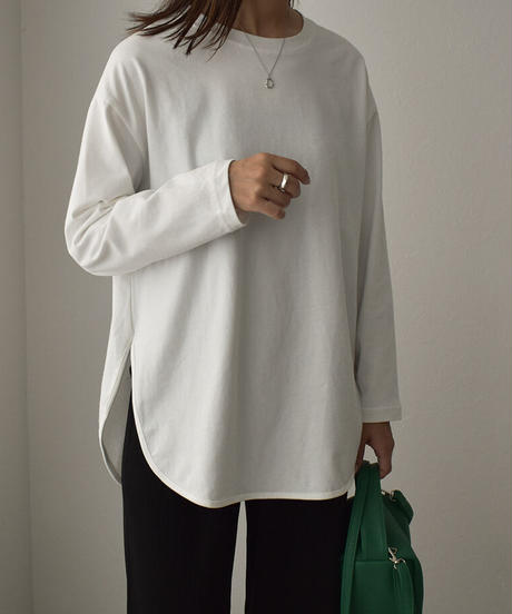 tops-02275 ラウンドヘムロングTシャツ ホワイト ブラック