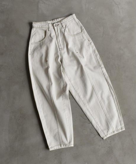 bottoms-02012 ハイウエスト センターシーム ワイドテーパード パンツ オフホワイト
