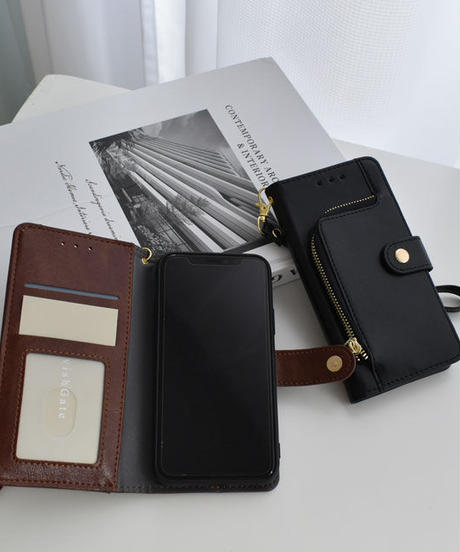 mb-iphone-02590 ストラップ付 手帳型 ファスナー iPhoneケース