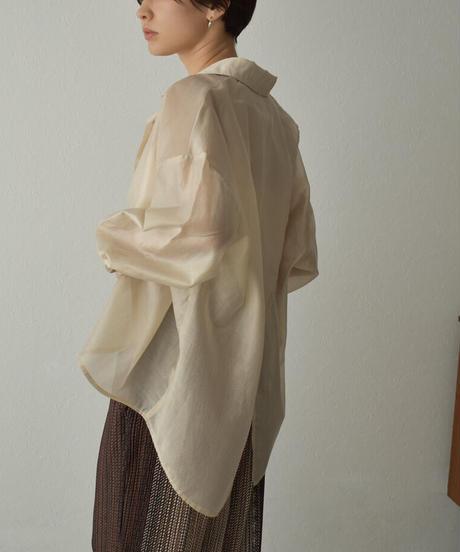 tops-02252 バックスリットシアーシャツ ホワイト ベージュ