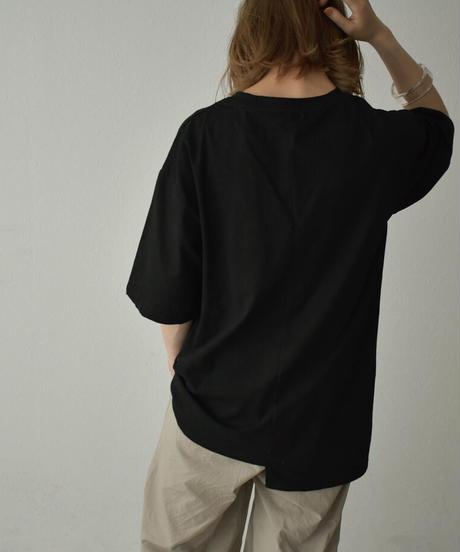 nh-tops-02237 フロントカットデザイン ルーズ Tシャツ ホワイト ライトカーキ チャコール ブラック