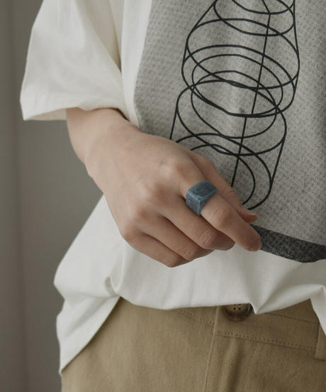 mb-ring2-02139 ニュアンスカラー マーブル アクリル リング クリアベージュ ミント ダスティブルー ダスティパープル