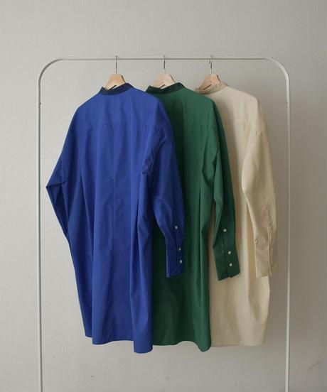 tops-04085 日本製  フロント バイカラー ドレスシャツ ベージュ ブルー グリーン