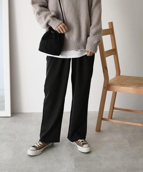 bottoms-02043 タックセミワイドパンツ ダスティブルー ブラック