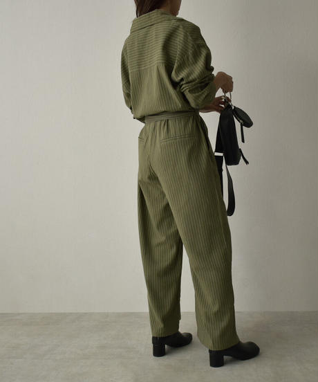 onepiece-07009 開襟 ストライプ ジャンプスーツ キャメル カーキ