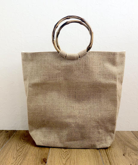 bag2-02343 バンブーハンドル 麻バッグ