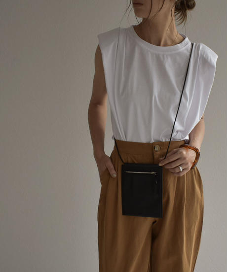 nh-tops-02171 ショルダーパット タック Tシャツ ホワイト ベージュ ブラック