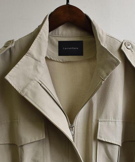 coat-02022 バルーンスリーブ ミリタリーガスコート ベージュ カーキ