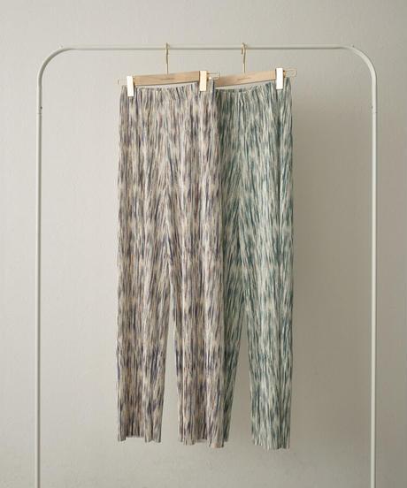 nh-bottoms-02117 マルチカラー プリーツ パンツ パープル×ブラウン グリーン×ブルー
