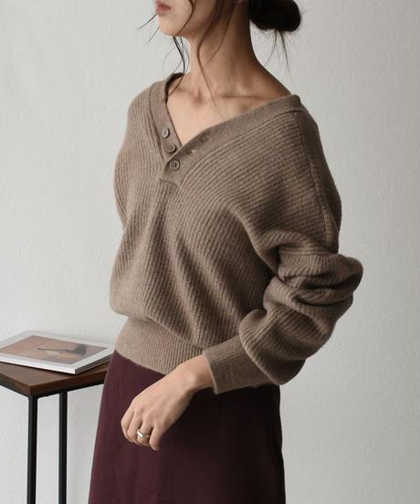 knit-02077 ウール混 バックオープン ダブルフェイスニットカーディガン モカ ベージュ