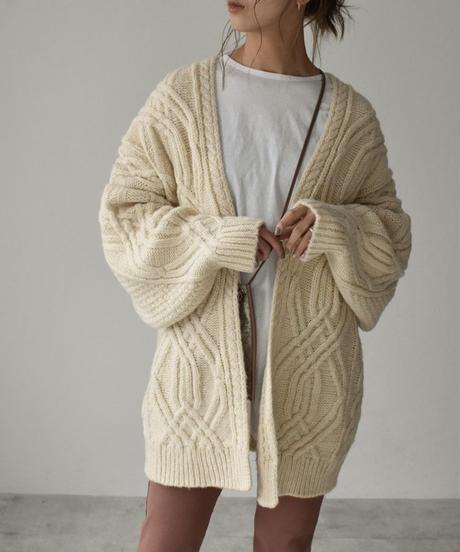 knit-02103 オーバーサイズ ケーブル カーディガン オフホワイト モカベージュ ライムグリーン ブラック