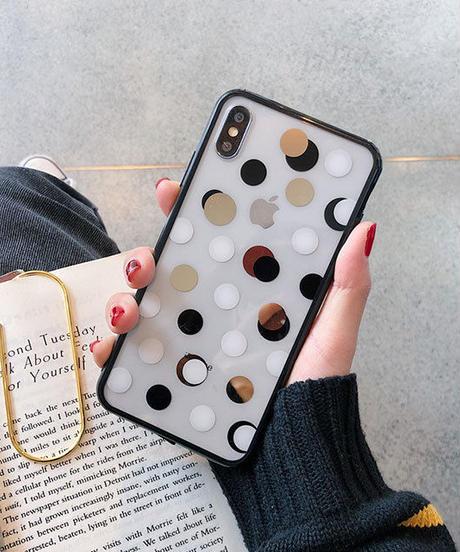 mb-iphone-02518  ブラックバンパー ドット柄 iPhoneケース
