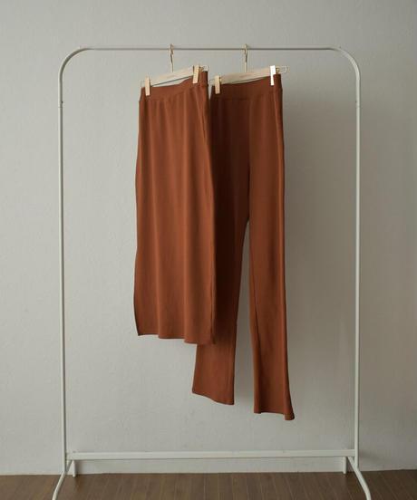 bottoms-04041 日本製 リブ レイヤード スカート パンツ レンガ グレージュ ブラック
