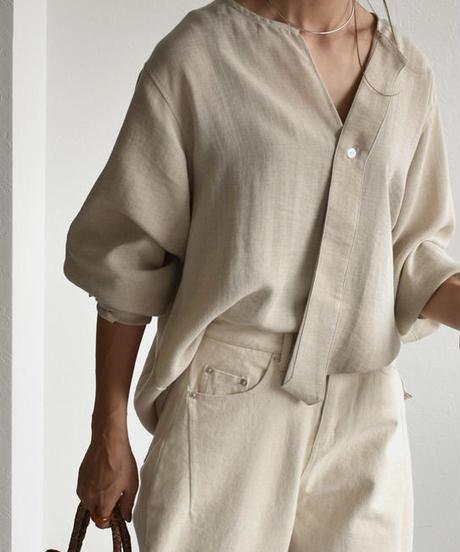 8月下旬~9月上旬入荷分 予約販売 nh-tops-02093 変形ノーカラー ラフシャツ ベージュ