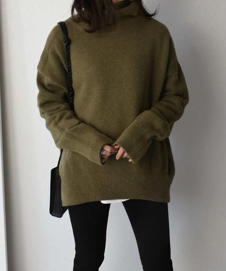 knit-02071 オーバーサイズ タートル ニット オフホワイト ベージュ モカ カーキ