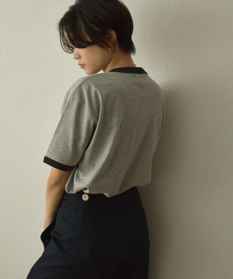nh-tops-02234 リンガー Tシャツ ホワイト グレー ブラック