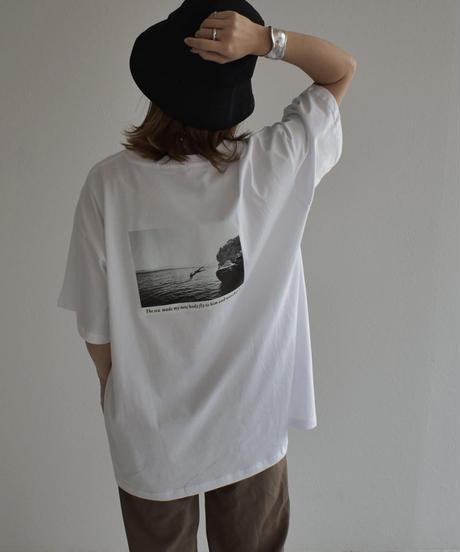 nh-tops-02178 バック モノトーンフォトTシャツ ブラック ホワイト