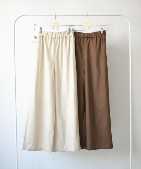 nh-bottoms-04022 日本製 ラップ ワイド リネン混パンツ ナチュラル ブラウン